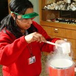 Girl experimenting with liquid nitrogen
